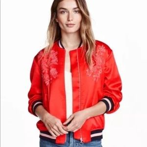 H&M Red Silk Bomber Jacket **never worn